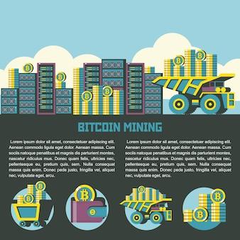 Il dumper porta i bitcoin ai server in background. set di emblemi. carrello con bitcoin, portafoglio con bitcoin, pila di monete, dumper con bitcoin.