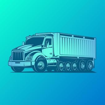 Illustrazione vettoriale di autocarro con cassone ribaltabile
