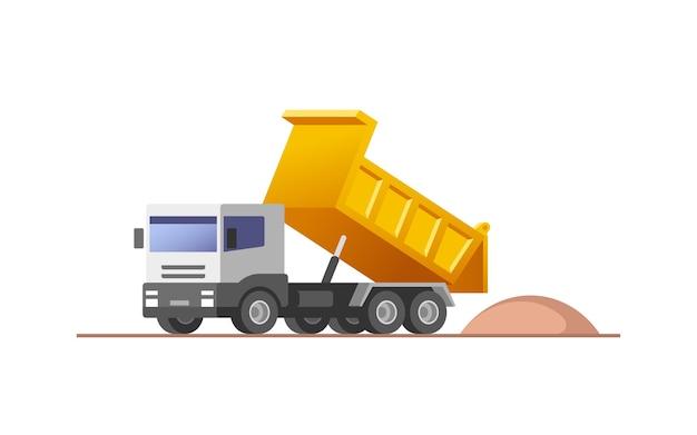Autocarro con cassone ribaltabile in azione al sito in costruzione