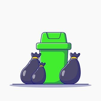 Illustrazione di rimozione della spazzatura del sacco della spazzatura e della spazzatura. concetto dell'icona di ecologia isolato.