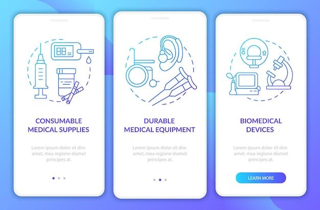 Schermata della pagina dell'app mobile a bordo delle apparecchiature mediche durevoli