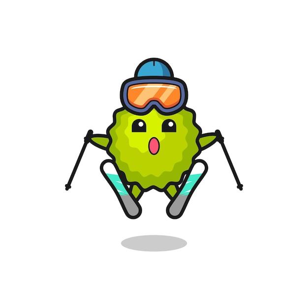 Personaggio mascotte durian come giocatore di sci, design in stile carino per maglietta, adesivo, elemento logo