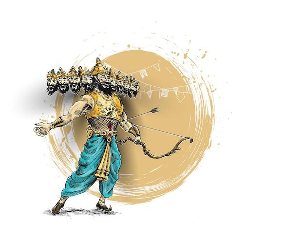 Celebrazione di dussehra - ravana con dieci teste, illustrazione vettoriale di schizzo disegnato a mano astratto.