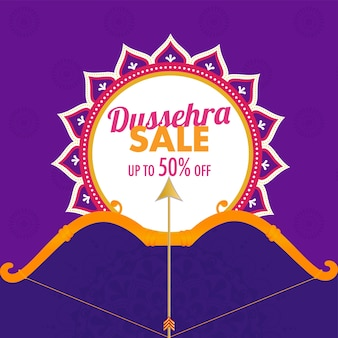 Dussehra sale poster design with bow arrow illustrazione