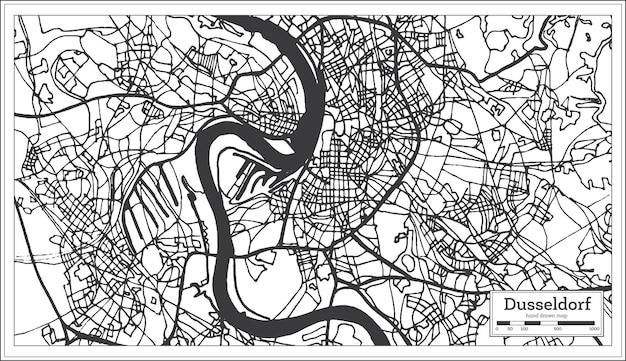 Mappa della città di dusseldorf germania in stile retrò. mappa di contorno. illustrazione di vettore.