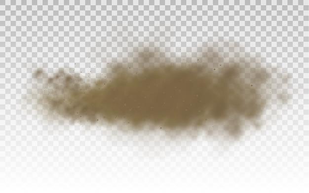 Nuvola di polvere. nuvola polverosa marrone o sabbia asciutta che vola con una folata di vento, tempesta di sabbia, fumo,