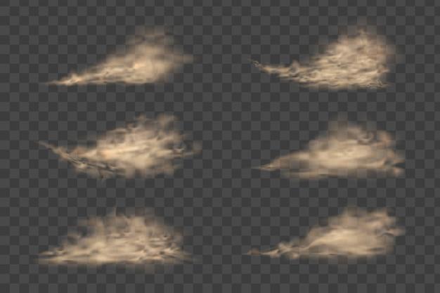Nuvola di polvere, tempesta di sabbia, spruzzi di polvere su sfondo trasparente. sabbia volante. nuvola di polvere.