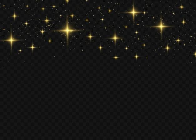 La polvere è gialla. scintille gialle e stelle dorate brillano di luce speciale.
