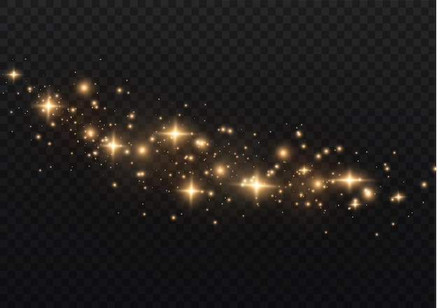 La polvere è gialla. scintille gialle e stelle dorate brillano di luce speciale