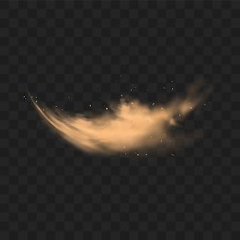 Nuvola di sabbia polverosa con pietre e particelle polverose volanti isolate su sfondo trasparente. tempesta di sabbia nel deserto. illustrazione realistica