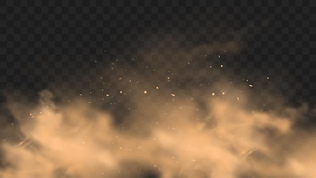 Nuvola di sabbia polverosa con pietre e particelle polverose volanti su sfondo trasparente.