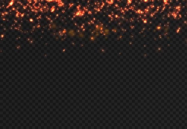 Le scintille di polvere e le stelle rosse brillano di luce speciale. scintillio rosso brilla