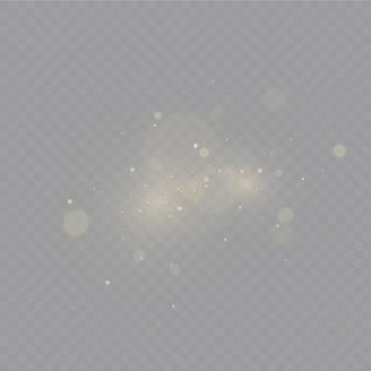 Polvere. scintille bianche e stelle dorate brillano di luce speciale.