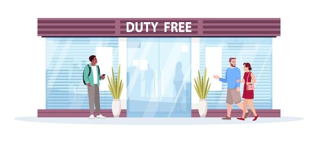 Negozio duty free anteriore semi piatto illustrazione vettoriale. le persone acquistano prodotti prima del volo. zona internazionale, grande magazzino esentasse. personaggi dei cartoni animati 2d dei passeggeri dell'aereo per uso commerciale