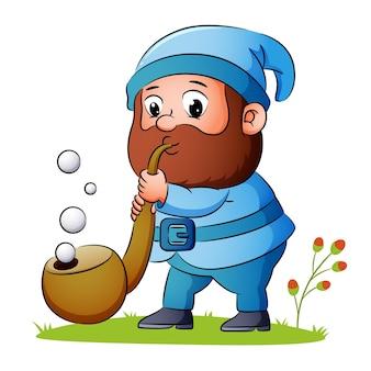 Il nano sta soffiando il sigaro e fa un sacco di bolle di illustrazione