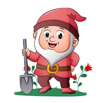 Il nano è in piedi e tiene la pala nel giardino dell'illustrazione