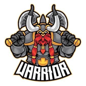 Dwarf warrior esport logo isolato su bianco
