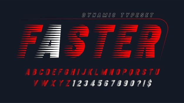 Design dinamico dell'alfabeto, lettere e numeri.