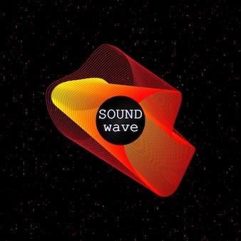 Forma fluida dinamica. onde di musica. suono digitale. modello struttura poster al neon.