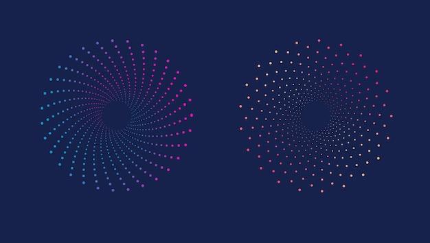 Motivo a mezzitoni a spirale dinamico astratto punteggiato macchiato colorato su sfondo scuro