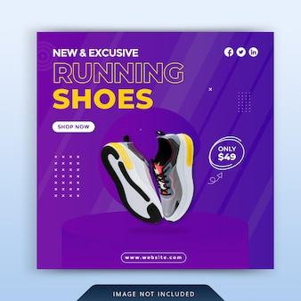 Banner di social media di scarpe sportive dinamiche e design di modelli di post di instagram vettore premium
