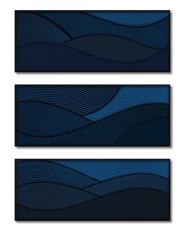 Linea ondulata dinamica sfondo blu classico vettore premium