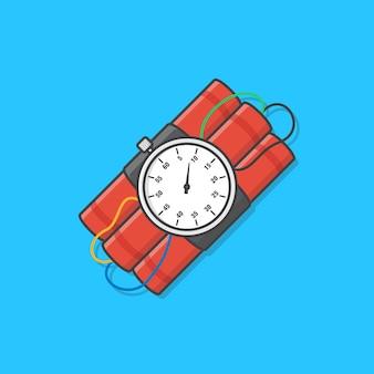 Bomba dinamite con orologio timer è pronta per esplodere icona illustrazione