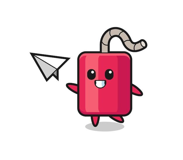 Personaggio dei cartoni animati dinamite che lancia aeroplano di carta, design in stile carino per maglietta, adesivo, elemento logo