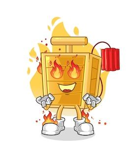 La mascotte del detonatore dinamite in fiamme. cartone animato