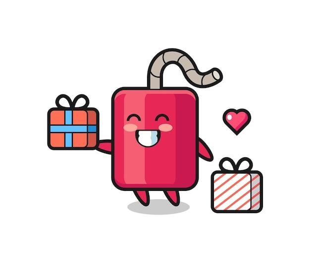 Cartone animato mascotte dinamite che fa il regalo, design in stile carino per maglietta, adesivo, elemento logo Vettore Premium
