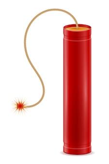 Bastone rosso dinamite con illustrazione del fusibile bickford isolato su bianco Vettore Premium
