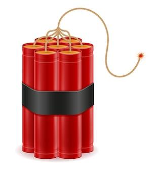 Bastone rosso dinamite con illustrazione del fusibile bickford isolato su bianco
