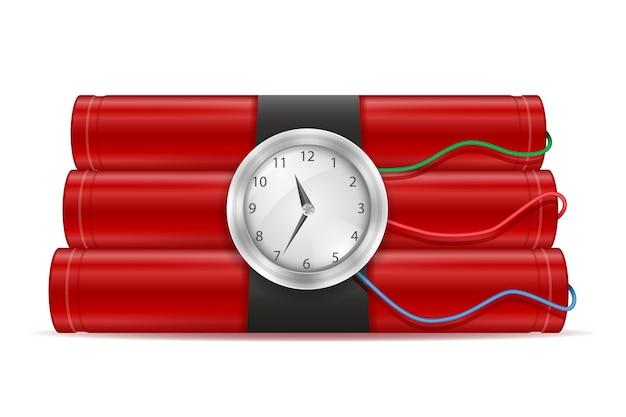 Bastone rosso dinamite con illustrazione di un orologio isolato su bianco