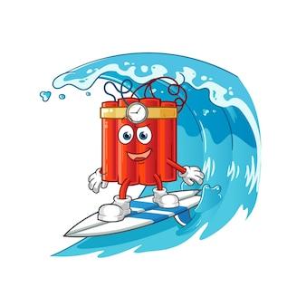 Personaggio surf dinamite. vettore della mascotte dei cartoni animati