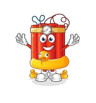Dinamite con cartone animato anatra boa. vettore della mascotte dei cartoni animati