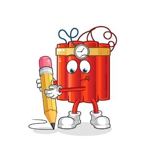 La dinamite scrive con la matita. vettore della mascotte dei cartoni animati