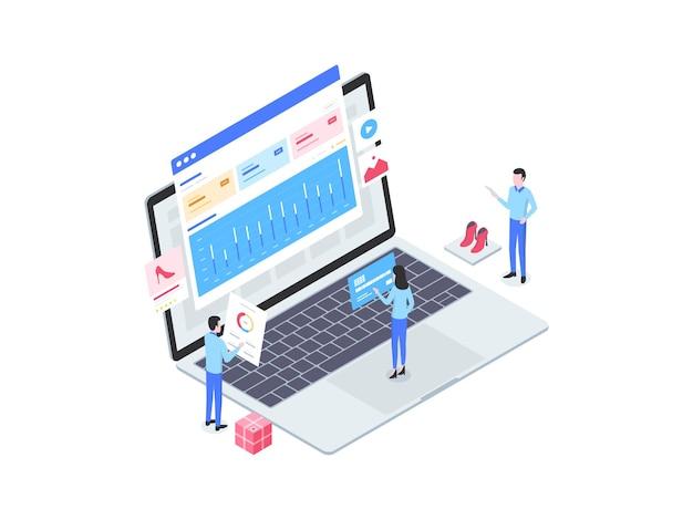 Illustrazione isometrica di annunci di e-commerce. adatto per app mobili, siti web, banner, diagrammi, infografiche e altre risorse grafiche.