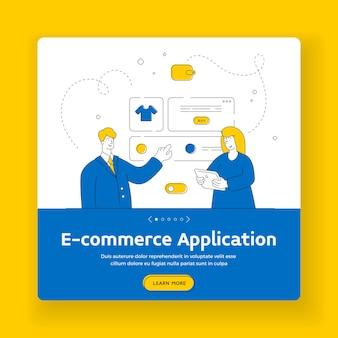 Modello di banner quadrato applicazione e-commerce. personaggi dei cartoni animati che scelgono e acquistano vari indumenti nel moderno web store. illustrazione di stile piatto, design di arte linea sottile