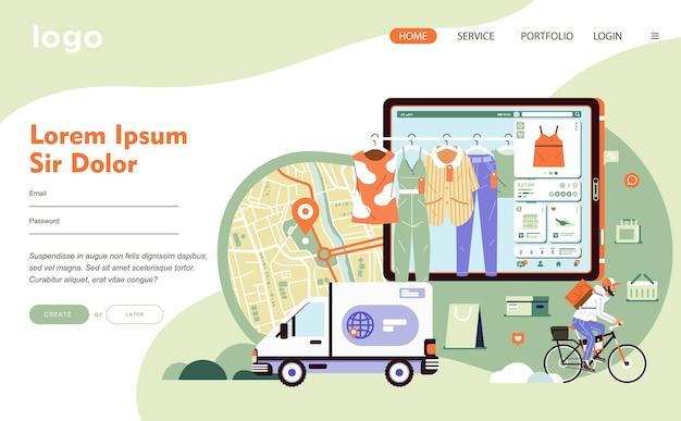 Tecnologia applicativa per l'e-commerce per lo shopping online e connessa al servizio di consegna. c'è la mappa, il camion, la linguetta, i vestiti e l'illustrazione piatta della bicicletta a cavallo dell'uomo