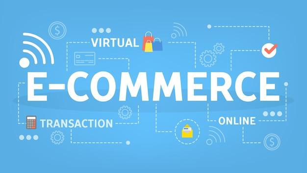 Concetto di e-commerce. idea di moneta online e di trascrizione elettronica