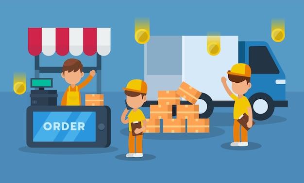 Processo di consegna di commercio elettronico sul concetto mobile e online di acquisto, illustrazione di vettore