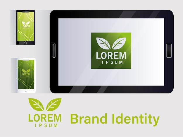 E-commerce per marchio di identità nel design di illustrazione di aziende