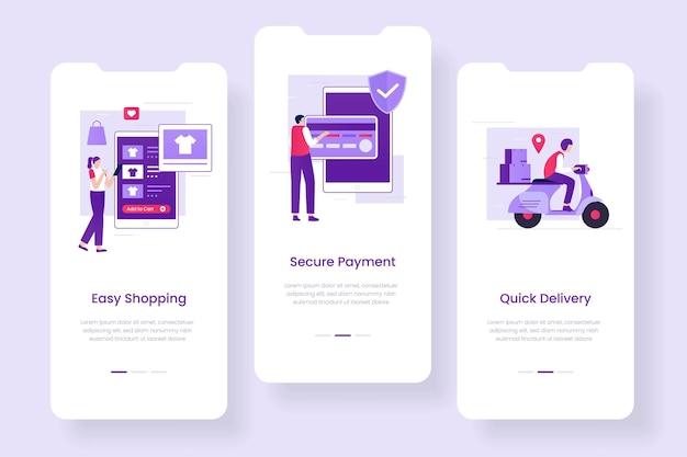 Set di schermate per app per dispositivi mobili di e-commerce. illustrazioni per siti web, landing page, applicazioni mobili, poster e banner.