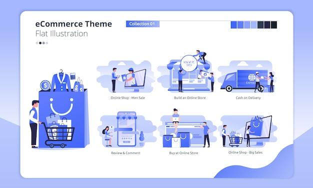 Tema di acquisto online o di commercio elettronico in un'illustrazione piana