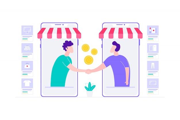 Illustrazione online di acquisto di accordo del rivenditore di commercio elettronico