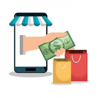 Progettazione online di negozio di smartphone e-commerce