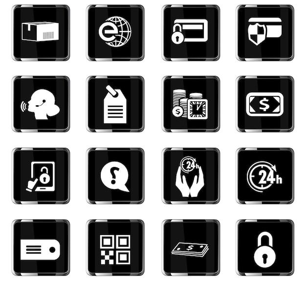 Icone vettoriali di e-commerce per la progettazione dell'interfaccia utente