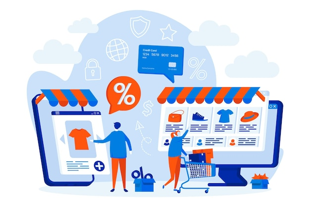 Concetto di web design di e-commerce con personaggi di persone