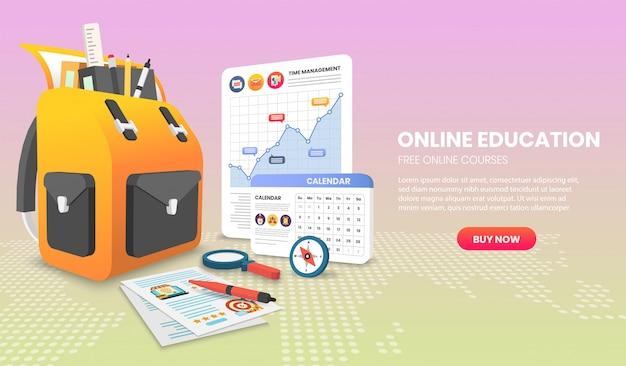 Banner di e-learning concetto di studio online a casa. 3d vettoriale.