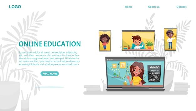 Banner di concetto di e-learning. formazione in linea. compagni di classe che utilizzano laptop e smartphone. studia a casa